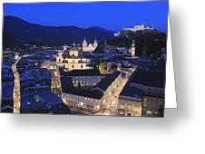 Salzburg At Night Austria  Greeting Card