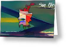 San Diego Map Watercolor Greeting Card
