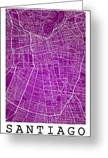 Santiago Street Map - Santiago Chile Road Map Art On Colored Bac Greeting Card