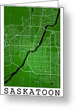 Saskatoon Street Map - Saskatoon Canada Road Map Art On Colored  Greeting Card