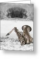 Sax On Snowy River Greeting Card