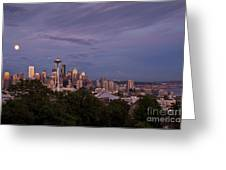 Seattle Skyline With Moonrise And Space Needle Greeting Card