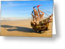 Ship Model On Summer Sunny Beach Greeting Card