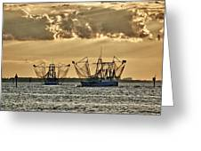 2 Shrimper Going To Sea Greeting Card