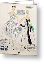 Vintage Fashion Sketches And Fabric Swatches Greeting Card