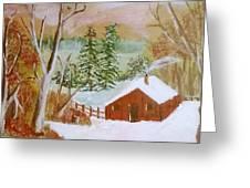 Ski Cabin Greeting Card