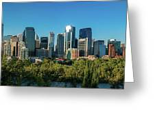 Skylines In A City, Bow River, Calgary Greeting Card