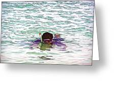 Snorkeling In The Lagoon Inside The Coral Reef Greeting Card