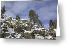 Snow Covered Cliffs And Trees II Greeting Card