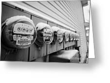 snow covered electricity meters in Saskatoon Saskatchewan Canada Greeting Card