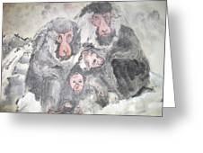 Snow Monkey Snow Leopard Album Greeting Card