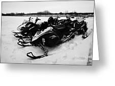 snowmobiles parked in Kamsack Saskatchewan Canada Greeting Card
