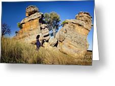 Split Rocks With Woman Greeting Card