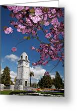Spring Blossom And Memorial Clock Greeting Card