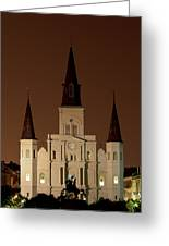 St Louis Cathedral At Night Greeting Card