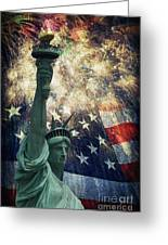 Statue Of Liberty And Fireworks Greeting Card