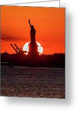 Statue Of Liberty Sunset. Nyc Harbor Greeting Card