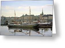 Stockholm City Harbor Sunrise Greeting Card