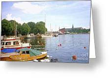 Stockholm City Harbor Greeting Card