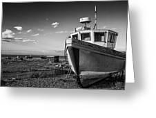 Stunning Black And White Image Of Abandoned Boat On Shingle Beac Greeting Card