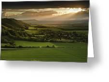 Stunning Summer Sunset Over Countryside Escarpment Landscape Greeting Card
