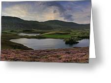 Stunning Sunrise Panorama Landscape Of Heather With Mountain Lak Greeting Card