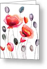 Stylized Poppy Flowers Illustration  Greeting Card