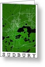 Sudbury Street Map - Sudbury Canada Road Map Art On Colored Back Greeting Card