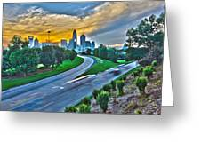 Sun Setting Over Charlotte North Carolina A Major Metropolitan C Greeting Card