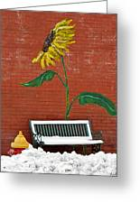 Sunflower And Snow Greeting Card
