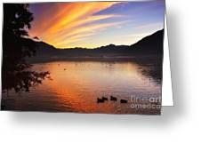 Sunrise Over An Alpine Lake Greeting Card