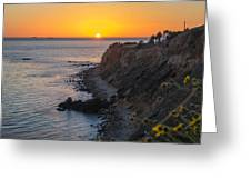 Sunset At Point Vincent Lighthouse Greeting Card