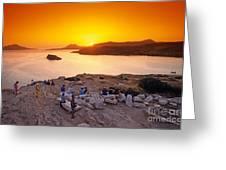 Sunset At Poseidon Temple Greeting Card