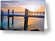 Sunset By The Dock  Greeting Card