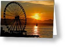 Sunset Ferris Wheel Greeting Card