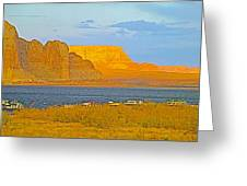 Sunset Glow Over Wahweap Bay In Lake Powell In Glen Canyon National Recreation Area-arizona Greeting Card