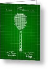Tennis Racket Patent 1887 - Green Greeting Card