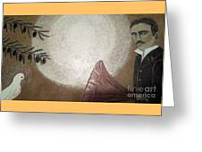 Tesla And White Dove Greeting Card