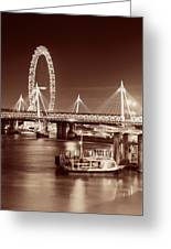 Thames River Night View Greeting Card