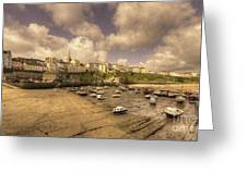 The Harbour At Tenby  Greeting Card