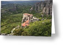 The Holy Monastery Of Rousanou Meteora Greece  Greeting Card