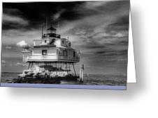 Thomas Point Shoal Lighthouse Black And White Greeting Card