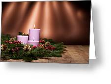 Three Candles In An Advent Flower Arrangement Greeting Card