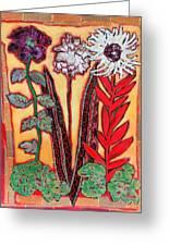 Three Flowers Greeting Card by Diane Fine