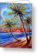 Three Palms On The Beach Greeting Card
