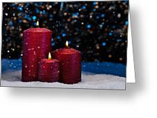 Three Red Candles In Snow  Greeting Card