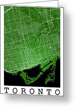 Toronto Street Map - Toronto Canada Road Map Art On Colored Back Greeting Card
