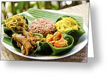 Traditional Vegetarian Curry With Rice In Bali Indonesia Greeting Card