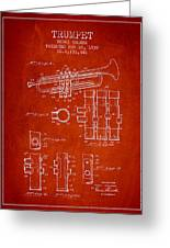 Trumpet Patent From 1939 - Red Greeting Card
