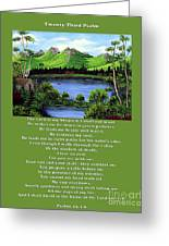 Twin Ponds And 23 Psalm On Green Greeting Card